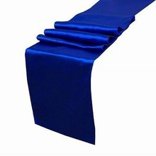 Wholesale/Free shipping 10PCS 30x275cm Royal Blue Satin Table Runners Wedding Favors Party Decorations Table Decors(China)