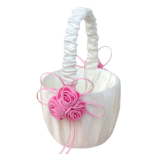 Lace Collection Wedding Flower Girl Basket Pink Rose Flower Basket for wedding