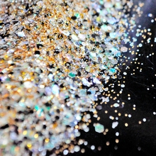 Clear Gold Black Glitter Mix Size Nail Art Glitter Powder Brilliant UV Nail Glitter Powder Mix Color Acrylic 3D Nail Dust Sequin