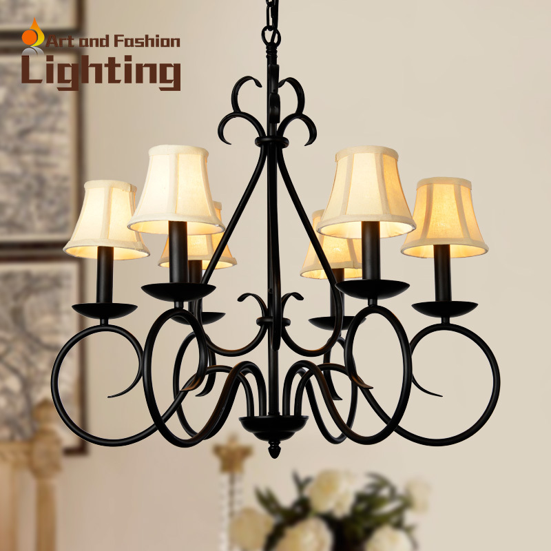 Classical European decorative iron chandelier Colorful linen light shade Beige red black chandelier D10090<br><br>Aliexpress