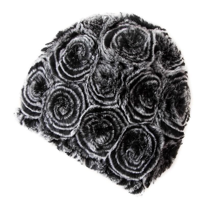 Lbellagiovanna Winter fur hats for women Real Rex Rabbit Fur Beanies Thermal Rose madam Hat Hand knitted Skullies Fur Caps GiftÎäåæäà è àêñåññóàðû<br><br>