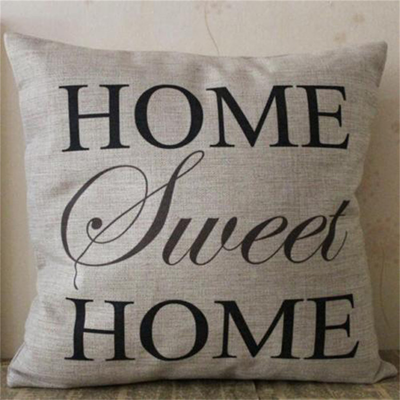 Popular Retro HOME Letters Throw Pillow Case Home Decorative Cotton Linen Blended Cushion Cover