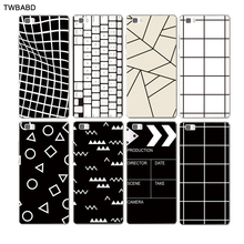 Simple Black White Grid Cover phone cases For Huawei P8 Lite P8 shell Triangular and square patterns back cover