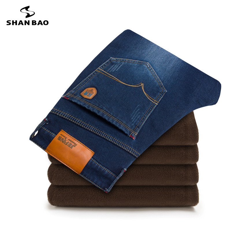 SHAN BAO brand mens fashion casual jeans 2017 winter plus cashmere thickening warm clothing trousers large size 28 to 46Îäåæäà è àêñåññóàðû<br><br>