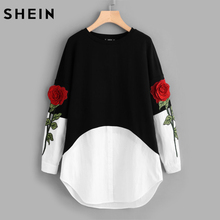SHEIN 3D Rose Patch Contrast 2 In 1 Shift Dress Womens Black and White Color Block Long Sleeve Sweatshirt Dress(China)