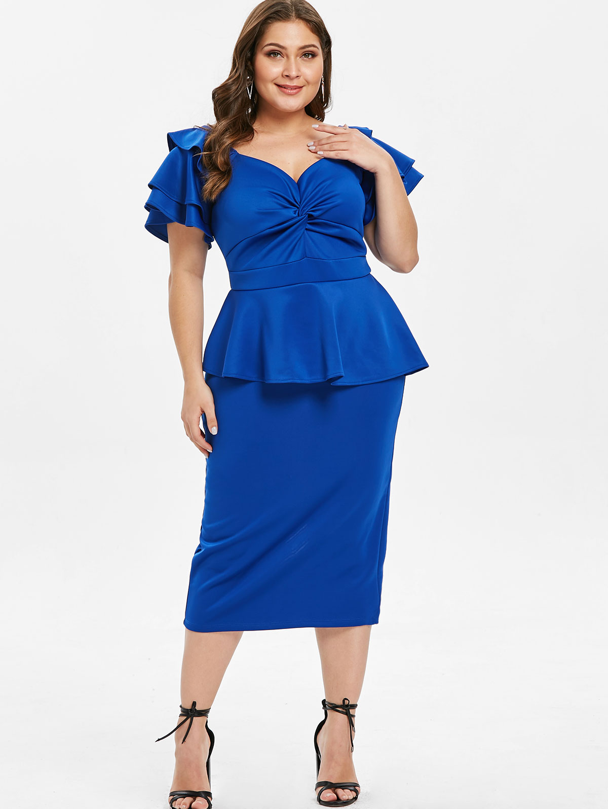 Silhouette Bodycon Dresses Length Mid-Calf Neckline Sweetheart Neck Sleeve  Length Short Sleeves Pattern Type Solid Color With Belt No 23b2d85a08f6