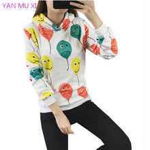 New Brand YANMUXI2017 winter Women's Balloon Expression Print Hoodie Casual Pullover High Quality Flannel Long Sleeve Sweatshirt