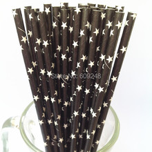 100pcs Mixed Colors White Star Printed Black Paper Straws, Buy Cheap Baby Shower Party Supplies Paper Drinking Straws in Bulk