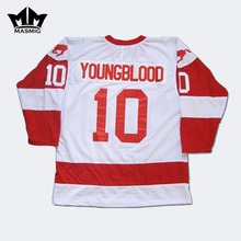 MM MASMIG Youngblood Rob Lowe 10 MUSTANGS Hockey Jersey White For Free Shipping S M L XL XXL XXXL(China)