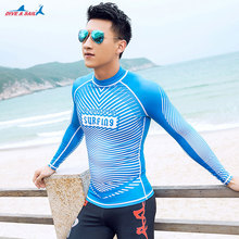 Dive & Sail Men's Long Sleeve Surf Shirt Rashguard Swim Tee UPF 50+ Surfing Suit Sun Protection Swimming Shirt Surfing Suits