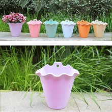 Cute Mini Plastic Flower Pot Unbreakable Hanging Potted Plant with tray Garden Nursery Flowerpot 2017