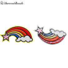 DoreenBeads 3PCs Polyester Patches Appliques DIY Scrapbooking Craft Rainbow Multicolor Star Pattern Clothes Bags Decoration