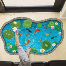 Art 3D Pool Floor Wall Sticker Lotus Pond Cartoon Gold Fish DIY Floor Sticker For Children Bathroom Personalized Home Decor