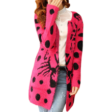 Sweater women long Autumn winter explosion models Korean jumper tiger pattern mohair knit cardigan thicker coat vestidos LXJ330