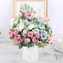 Розы искусственные шелковые цветы высокого качества букет 12 головок поддельные цветы ромашки бутон украшения для свадьбы дома аксессуары ...