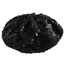 Lady Costume Stretch Sparkly Shining Sequin Beret Beanie Hat black(China)