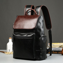 New Arrive Men's Leather Backpack Schoolbag Vintage Panelled Leather Backpack men Large capacity Travel Laptop Backpack mochila