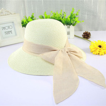 2016 Korean Fashion Vintage Hat Lady Summer Wide Along Bow Visor Sun Beach Straw Hat Mujer Cap Candy Colored Sun Hats for Women