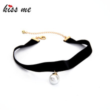 KISS ME New Popular Black Chokers Round Simulated Pearls Choker Necklace 2017 Fashion Jewelry Women Bijoux(China)
