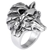 Retro Silver Cool Wolf Head Finger Knuckle Men Rings Antique Titanium Animal Ringen For Best Friends Jewelry Accessories Anel