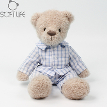 Kawaii Teddy Bear Plush Doll Toy Stuffed Animals Plaid Shirt Teddy Bear Soft Toy Sit Hight 21CM Doll For Kids Birthday/Xmas Gift(China)