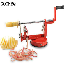 GOONBQ 1 pc 3 in 1 Apple Peeler Stainless Steel Fruit Peeler Slicing Machine Pear Apple Peeled Creative Kitchen Cutter Zester(China)