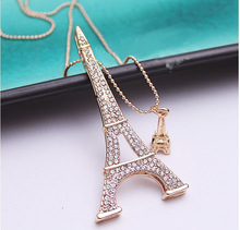 Brand Fashion Paris Eiffel Tower Necklace Crystal Rhinestone Ball Pendant Long Chain Sweater Necklace Women Jewelry Gifts(China)
