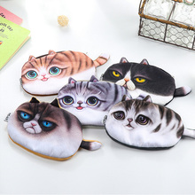 Kawaii Cats Zipper Pencils Bags Cute 3D Plush Pencils Case 2017 New Case Large Capacity School Supplies Stationery Hot Pen Box 1(China)