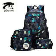 ZIWEIXING Fashion Camouflage Women Backpacks Fashion Kintting Square Girls Backpack Printing Oxford School Bags Unisex Mochilas
