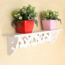 Wall Shelf Wall Mounted Holder Household Storage Stand Home Decor Shelves White Wood Plastic Home Accessory 46*9cm