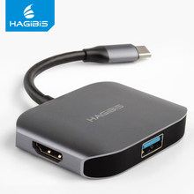Хагиби 3 в 1 type C USB 3,1 концентратор USB-C к адаптер HDMI VGA 4 K видео HD SuperSpeed USB 3,0 концентратор для Macbook Air Pro Dell XPS 13(Китай)