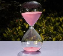 Fashion 60 Minutes Contemporary Clear Glass Sand Hourglass Timer, Art Decorative 60 Minute Sandglass