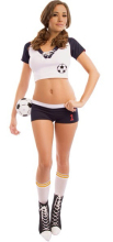 Sexy sport costumes for women with Free Shipping Women football Sexy Halloween Soccer Costume 3S1414(China)