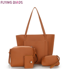 FLYING BIRDS famous brand Composite Bag 3pcs set women leather handbags bolsas high quality women's messenger bags designer tote