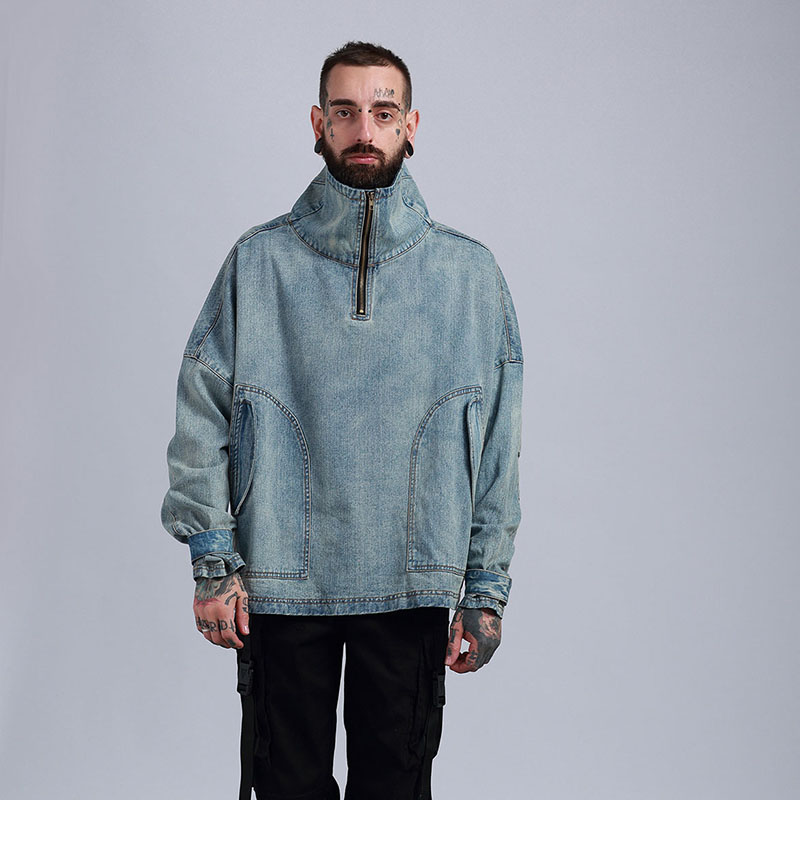 Aolamegs Denim Jacket Men Hanging Shoulder OVERSIZE Cowboy Casual Men's Jacket High Street Fashion Stand Collar Outwear Men Coat (17)
