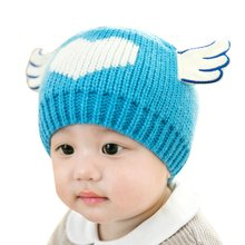 Cute Winter Listed Elastic Toddler Knitted Hat Angel Style Heart Pattern Boy Girl Hat Warm Crochet Cap