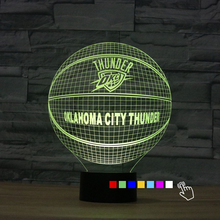 Fding USB 3D Light Colorful NBA OKLAHOMA CITY THUNDER Touch 3D Nightlight Fan Basketball Effect Light Bedside Lamp for Kids Gift(China)