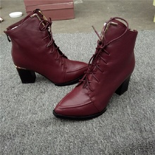 Women's Boots Bare Boots Leather 100% Only This Pair Of Fashion Leather Female Martin Boots Red Pointed Lace Winter Fall Boots