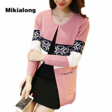 Mikialong Long Cardigans Female 2017 Autumn Women Korean Patchwork Cardigan Feminino Sweater Knitted Women Jacket Red Pink Black