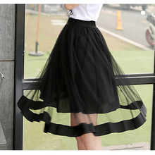 2017 Summer Fashion Women Empire Skirts Tulle A-Line Women Long Gauze Tutu Knee-Length Black Skirt For Wholesale