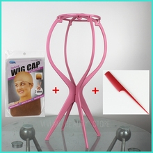 Free Shipping Top Quality And Cheap Hair Accessories Portable Folding Wig Stand&Wig Cap&China Rat Tail Comb(China)