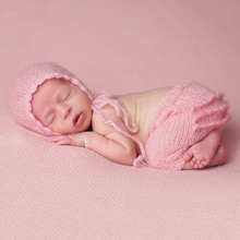 Newborn Baby Photography Props Set Pink Crochet Knit Cute Sweet Long Pant + Hat Cap Photo Studio Accessory Props Outfits(China)
