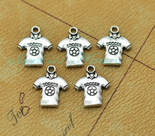 40pcs-- Soccer Jersey Charms,3D Antique Silver Soccer Shirt Pendants,Soccer Wear Charms DIY supplies, jewelry making