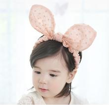 2016 baby newborn Big ears rabbit headband knot headwrap baby elastic Turban headbands children girl hair accessories 10pcs/lot(China)