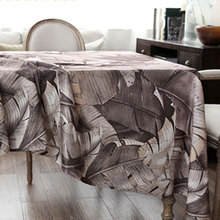 USPIRIT Gray Tablecloth Fabric Nappe Flax Death Leaves Table Cover Cold Color Linen Printed Tablecloth Accept Custom