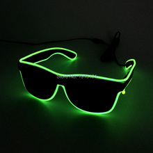 Brand New DC3V Trendy Lime Green EL Wire Glasses Holiday Lighting Luminous Fancy Neon Led Sunglasses for Easter Day Decor(China)