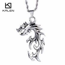 Kalen Punk Brand Jewelry Stainless Steel Dragon Pendant Necklace High Polishing Lucky Dragon Head Men Necklace Cheap Accessories(China)