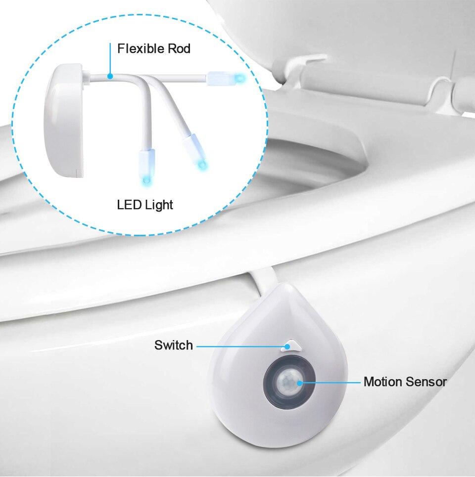 LED Toilet Seat Night Light Motion Sensor WC Light 8 Colors