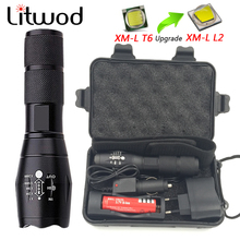 Litwod Z20 Big Promotion Ultra Bright CREE XM-L L6 LED Flashlight 5 Modes 4000 Lumens Zoomable LED Torch 18650 Battery Charger(China)