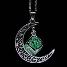 Moon Star Glowing Necklace Alloy Plated Pendant Jewelry